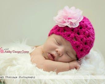 Crochet Pattern Olivia Beanie (Newborn - Adult) - PDF - Instant Digital Download