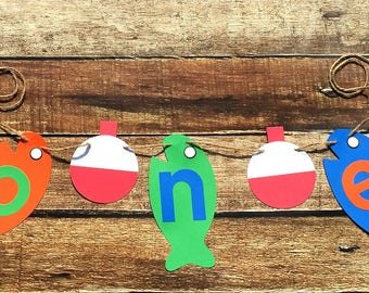 Fishing Banner//Large Fish// Birthday// One//First Birthday/Boy//Photo Prop//Banner//Other Numbers Available //NEW DESIGN