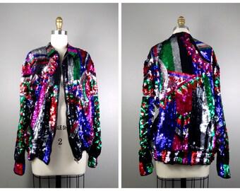 80's RAINBOW Sequin Bomber Jacket // Bright Sequined Retro Jacket
