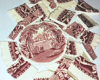 Broken China, Mosaic Pieces, Mosaic Supplies,  Red Toile Dish