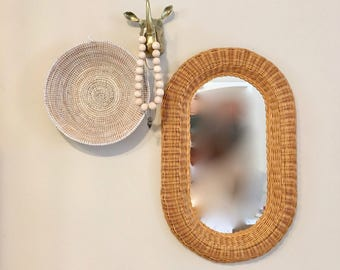 vintage large wicker wall mirror oval honey toned boho decor