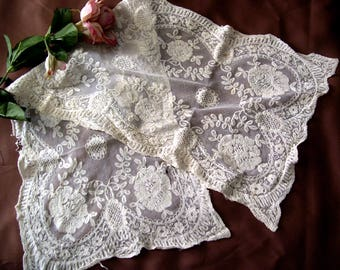 Vintage Lace Table Runner 32 x 12 Ivory Cotton Antique Shabby Dresser Scarf Embroidered Flowers on Netting