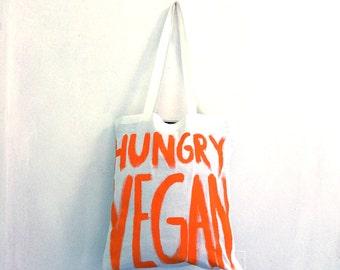 READY to SHIP Hungry Vegan TOTE Shoulder Shopper Eco Bag / Eve Damon
