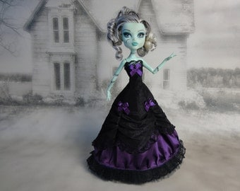 Long black and dark purple victorian dress hand made fits Monster High doll