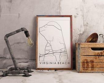 Line Map Printable - Virginia Beach, VA