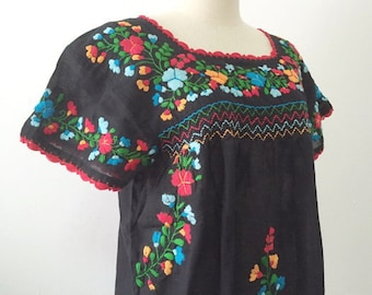 XL Blouses Mexican Embroidered Tops In Black, Boho Blouse