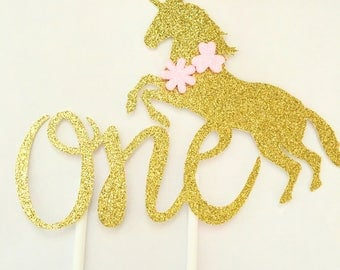 Age One glitter unicorn caketopper birthday wedding babyshower partydecor