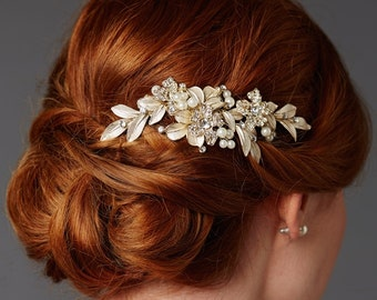 Crystal and Pearl Floral Bridal Hair Comb In Champagne Gold, Wedding Hair Comb, Crystal Hair Comb, Bridal Headpiece, Wedding Hairpiece