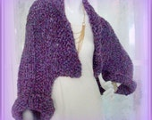 SWEATER WOMEN KNITTED  Shrug Hand made Hand knit  Gift for Mom  One size Reversable  Upside Down
