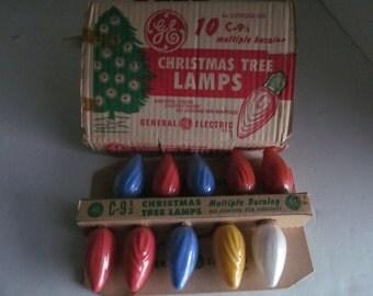 Art Deco Christmas Lights Vintage Outdoor Christmas Light Bulbs C-9 1/2 Christmas Tree Light Vintage Christmas GE Bulbs Christmas Tree Lamps