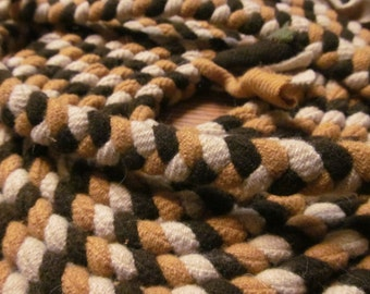 Handmade Braided Rug Unfinished Brown Wool Braided Rug Piece Wool for Braided Rug Primitive Rustic Cabin Decor