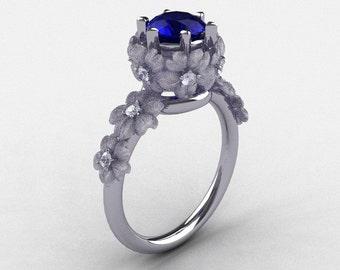 Nature Inspired 14K White Gold 1.0 Ct Sri Lanka Blue Sapphire Diamond Flower Wedding Ring, Engagement Ring NN109S-14KWGDNBS