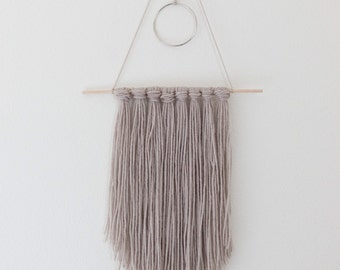 Ready to Ship / Handmade Tapestry / Yarn Wall Hanging - Copper Gray