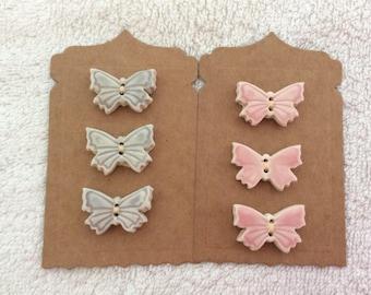 Butterfly porcelain handmade Buttons small.