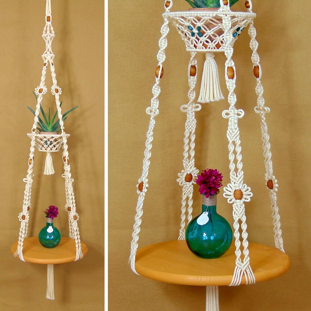 Hanging Tables: Macrame Hanging Table With Fruit Basket Hanging Plant Shelf