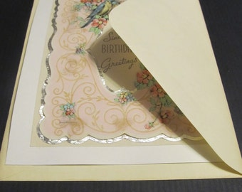 Sincere BIRTHDAY Greetings, vintage, patina, floral, silver shiney, recycle, upcycled, gorgeous, details, Greeting Card, FREE SHIPPING