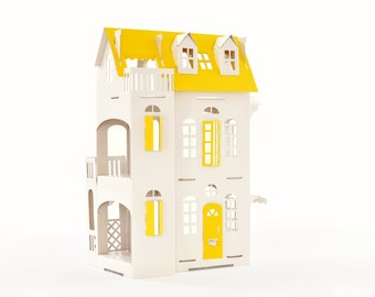 Cardboard luxury - Paper Imagination White Doll House - Yellow Deco - Yellow Roof Doors Windows
