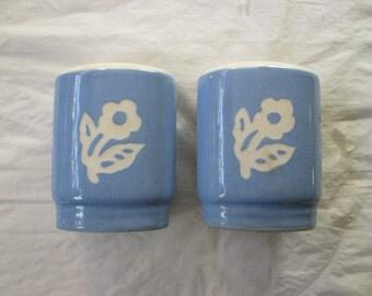 Harker Cameoware Salt & Pepper Shakers, DAINTY FLOWER BLUE (Virginia) c. 1940s