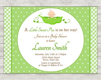 Sweet Pea Baby Shower Invitation - Printable File or Printed Invitations