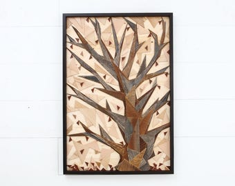 Autumn, geometric Tree artwork made of old reclaimed barnwood, wood wall art, large wall art, artwork