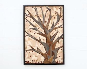 Autumn, geometric Tree artwork made of old reclaimed barnwood, wood wall art, large wall art, artwork
