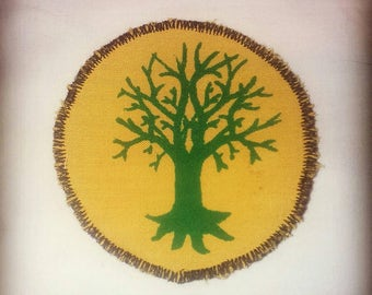 green + yellow screen printed hippy pagan tree of life patch