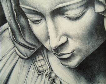 Pieta pencil artwork - Michelangelo's Pieta Colored pencil Study - Original artwork - Wall decor - Virgin Mary artwork - Mary artwork - Art
