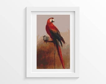 Cross Stitch Pattern PDF Study of a Parrot by George Cole Cross Stitch Chart, Parrot Instant Download (COLE01)