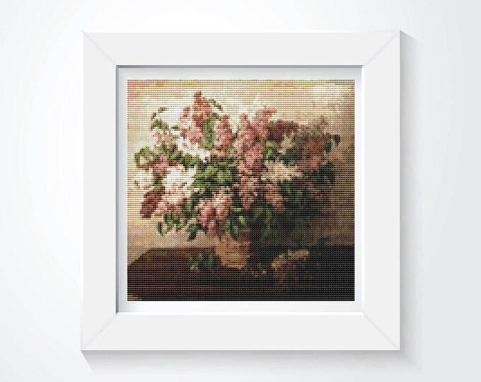 Cross Stitch Pattern PDF, Embroidery Chart, Art Cross Stitch, Floral Cross Stitch, Lilacs in a Basket by Pyotr Konchalovsky (PYOTR02)