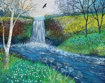 Print of English countryside with waterfall, snowdrops and Kingfishers from an original acrylic painting 'Snowdrop Falls' by Jo Grundy