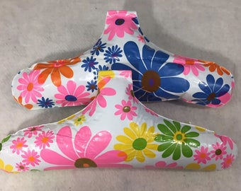 Vintage INFLATABLE Hangers Flower Power SET OF 2 Groovy Closet Blow Up 60s 70s
