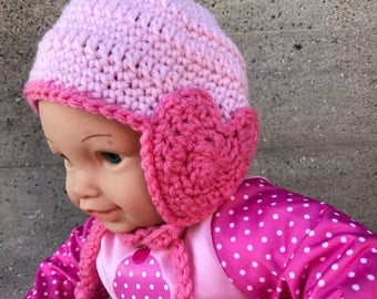 Crochet Baby Hat - Heart Earflaps and ties