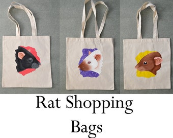 Rat Shopping Bags - Tote Bags - Black, Siamese and Cinnamon Brown