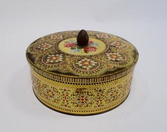 DECORATIVE TIN Button Tin, Made in England