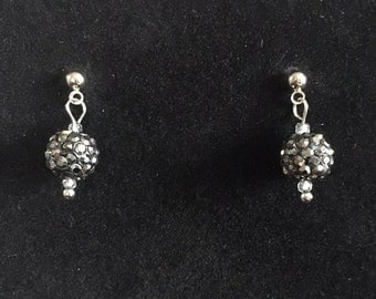 Hematite Colored Glass Beaded Dangle Earrings