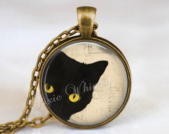 BLACK CAT Pendant Necklace Jewelry or Keychain, Cat Glass Photo Art Necklace Pendant, Black Cat Jewelry, Halloween Necklace, Gothic