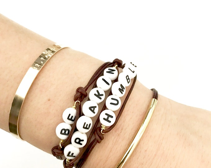 Featured listing image: Worded Leather Wrap Bracelets