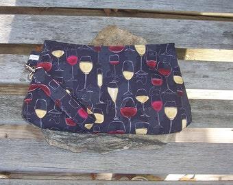 Wine Glasses Wristlet - Clutch Handbag Purse -Riesling Chardonnay Pinot Noir Merlot Chalk Paint - Swoon Coraline