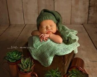 Olive green Elf Haf newborn hat