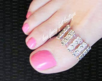 Big Toe Ring | Princess Crown | Crystal | Silver Stretch Bead Toe Ring
