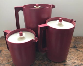 Tupperware Pitcher with Push Button Seal Lid/Air Lock Lid in Cranberry 1416, 1676, 1575 - Three Sizes. Sold Separately