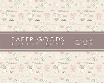Baby Girl Digital Paper - Baby Girl Scrapbook Paper - Vintage Baby Girl Paper - Little Princes Digital Paper - Digital Paper Pack