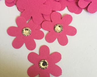 100 flowers with crystal center dark pink