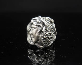 Sterling Silver Face Ring Size 6 Marcasite Hair Leaves 925 Jewelry Art Nouveau Style