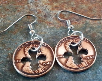 70th Birthday 1947 Penny Fleur de lis Earrings 70th Anniversary 70th Birthday Gift Coin Jewelry made from a 1947 Penny