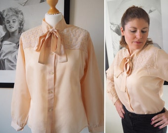 SALE Vintage 70s peach blouse with neck tie and lace country western blouse