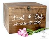 Wood Wedding Card Box with Lid   Wedding Money Box   Wedding Card Box   Wedding Card Holder   Rustic Cards Box with Lid - WS-230