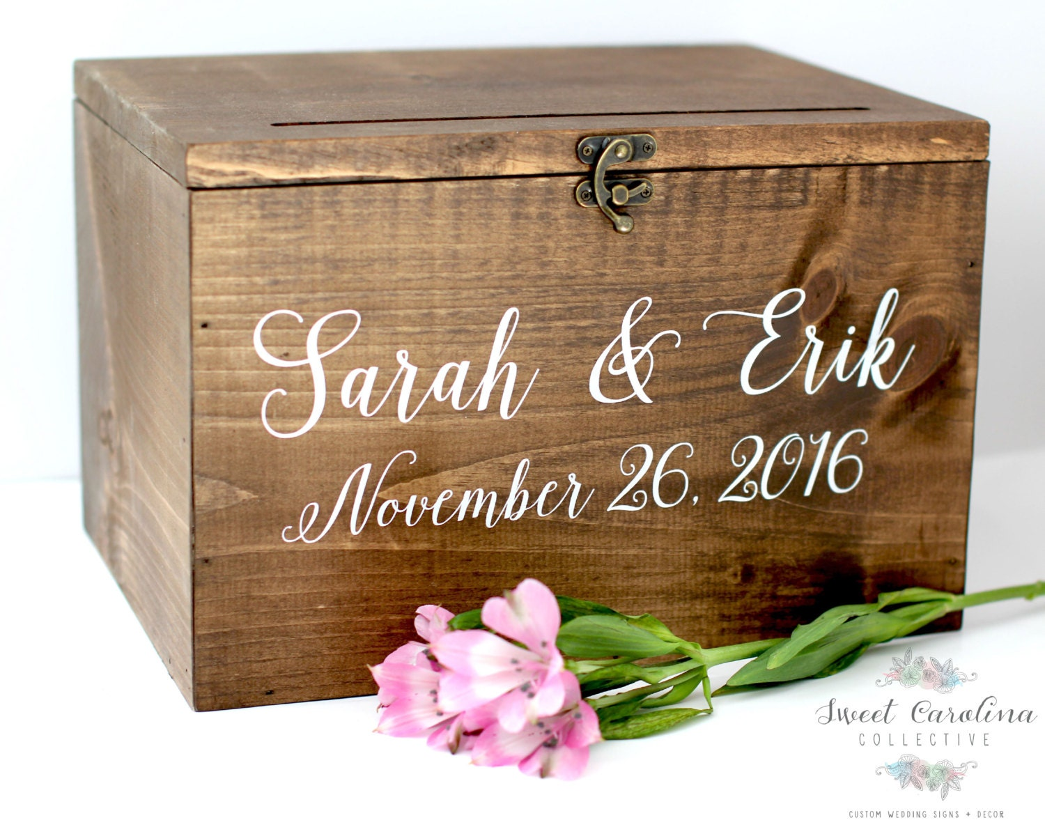 Wood Wedding Card Box with Lid Wedding Money Box Wedding