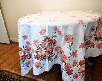 Retro 1960's Luther Travis Pink Daisy Tablecloth - Mod Flower Power Table Decor - Pretty Pink Floral Cottage or Farmhouse Tablecloth