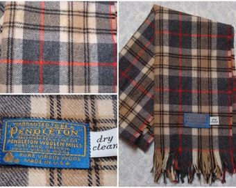 Vintage Retro 80's Pendleton Wool Scarf Plaid Brown Grey Red White Made in USA